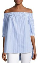 MICHAEL Michael Kors Off-the-Shoulder Striped Shirting Blouse, Oxford Blue