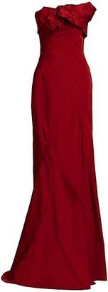 Oscar de la Renta Asymmetric Strapless Gown