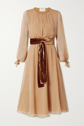 ARoss Girl x Soler Amanda Velvet-trimmed Silk-chiffon Midi Dress - Sand