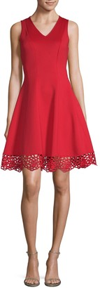Donna Ricco Embroidered Fit-And-Flare Dress