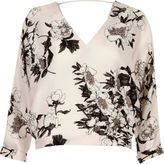 River Island Womens Pink floral print batwing top