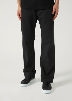 Emporio Armani Regular Fit Trousers In Stretch Cotton Gabardine