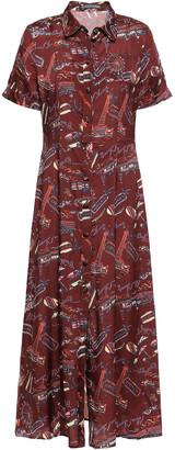 ALEXACHUNG Pleated Printed Satin Midi Shirt Dress