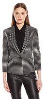 Kasper Women's Square Jacquard 1 Button Jacket