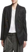 Brunello Cucinelli Regimental-Stripe Double-Breasted Jacket with Swarovski® & Monili Details, Gray