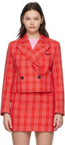 Thumbnail for your product : MSGM Red & Pink Cropped Plaid Blazer