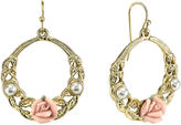 JCPenney 1928 Jewelry Pink Rose and Simulated Pearl Gold-Tone Hoop Earrings