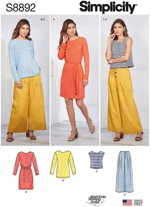 Simplicity Women's Dress, Top and Trousers Sewing Pattern, 8892