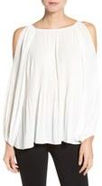 Bobeau Women's Cold Shoulder Plisse Blouse