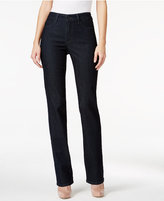 NYDJ Dark Enzyme Wash Embroidered Straight-Leg Jeans