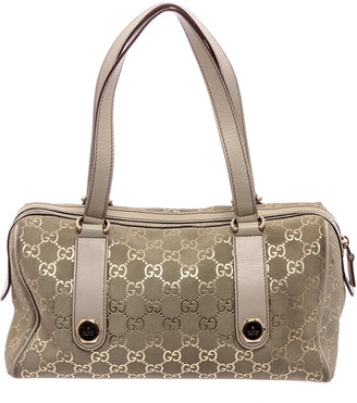 Gucci Metallic Beige Suede Charmy Boston Bag