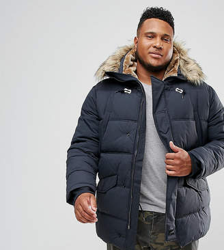 Schott Snork quilted parka with detachable faux fur trim in navy