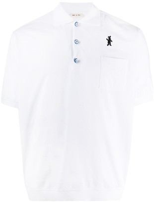 Marni Logo-Patch Ribbed-Hem Polo Shirt