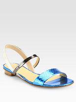 Reed Krakoff Tricolor Metallic Snakeskin Slingback Sandals