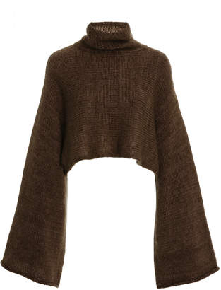 Sally LaPointe Cropped Mohair-Blend Turtleneck