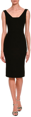 Dolce & Gabbana Sleeveless Wool Crepe V-Neck Dress