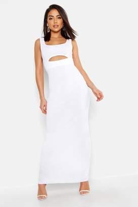 boohoo Cut Front Round Neck Maxi Dress