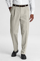 Classic Men's Long Pre-hemmed Pleat Front Traditional Fit No Iron Chino Pants-University Uniques