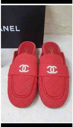 Chanel Red Cloth Mules & Clogs
