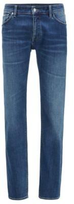HUGO BOSS Regular Fit Jeans In Mid Blue Italian Denim - Blue