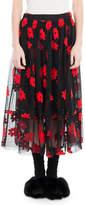 Simone Rocha Floral-Embroidered Tulle Midi Skirt