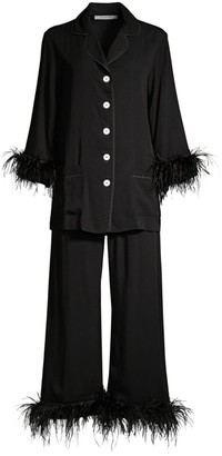 Sleeper 2-Piece Black Tie Feather Trim Pajama Set