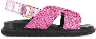 Marni glitter flat sandals