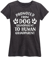 Instant Message Women's Women's Tee Shirts HEATHER - Heather Charcoal 'Promoted From Dog Grandparent' Relaxed-Fit Tee - Women