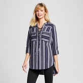 Merona Women's Lace-up Front Tunic Navy Stripe