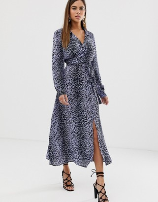 Asos DESIGN wrap front midi dress in leopard print