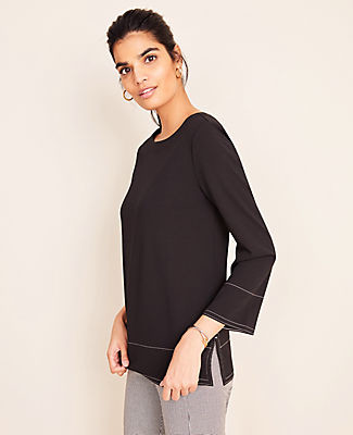 Ann Taylor Stitched Boatneck Top