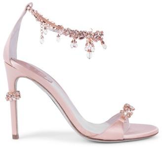 Rene Caovilla Anklet Crystal-Embellished Satin Sandals