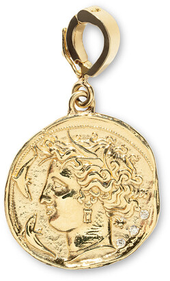 Azlee Diamond Small Goddess Coin Yellow Gold Charm