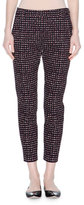 Tomas Maier Mid-Rise Skinny Cropped Grid Pants, Black/Beige/Raspberry