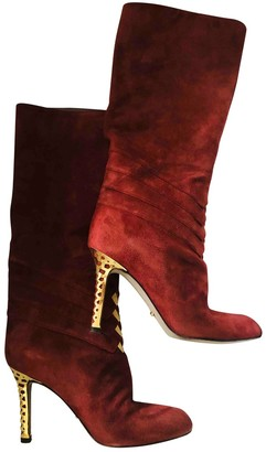 Sergio Rossi Red Suede Boots