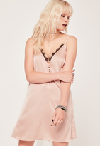 Missguided Satin Lace Trim Button Up Cami Dress Nude