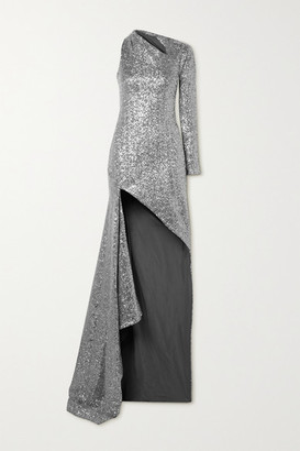 Monse One-shoulder Cutout Sequined Tulle Gown - Silver