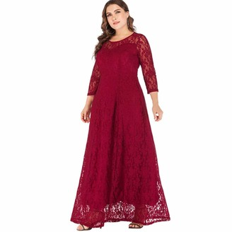 QPXZ Casual Dress Long Women White Black Red Party Dress Three Quarter Sleeve Sexy Lace Hollow Out Boho Maxi Dress-Red_XXL