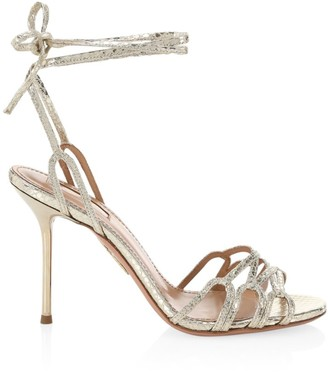 Aquazzura Azur Ankle-Wrap Snakeskin-Embossed Metallic Leather Sandals