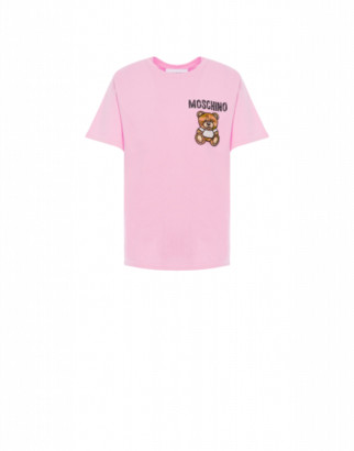 Moschino Mesh T-shirt Teddy Embroidery Woman Pink Size 38 It - (4 Us)