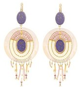 """Satellite Women's """"Tananarive"""" Gold Plated Brass Multicolour Beads Round Blue Stones with Mother of Pearl Drop Earrings"""