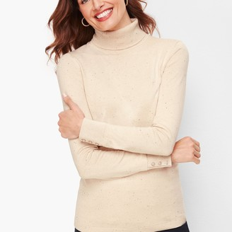 Talbots Button Cuff Turtleneck Sweater - Donegal