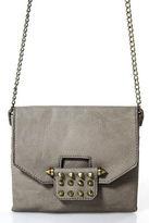 Rachel Roy Taupe Gray Faux Leather Brass Tone Studs Crossbody Handbag