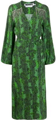 Rotate by Birger Christensen Bell Sleeve Wrap Front Dress