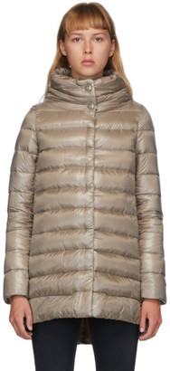 Herno Beige Down Amelia High-Low Jacket