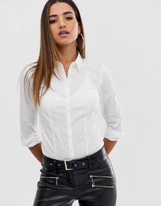 ASOS DESIGN long sleeve shirt body in stretch cotton in white