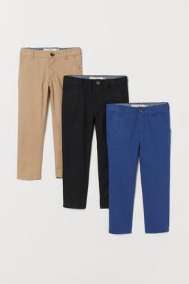 H&M 3-pack Slim Fit Chinos - Beige