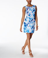Betsey Johnson Printed Cutout-Back Scuba Sheath Dress