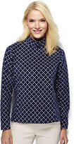 Lands' End Women's Tall 100 Everyday Fleece Mock Pullover-Ivory Dots