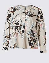 M&S Collection PLUS Floral Print Long Sleeve Tunic